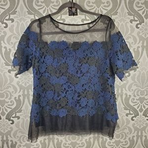 WHBM floral lace blouse NWT